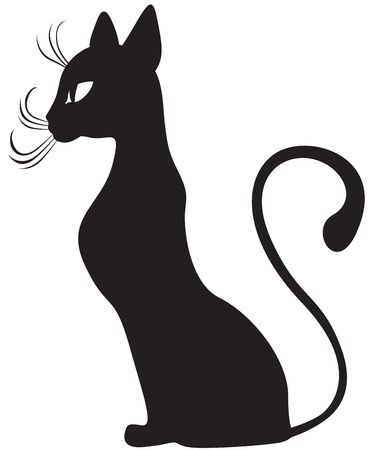 The silhouette of black graceful cats in the profile