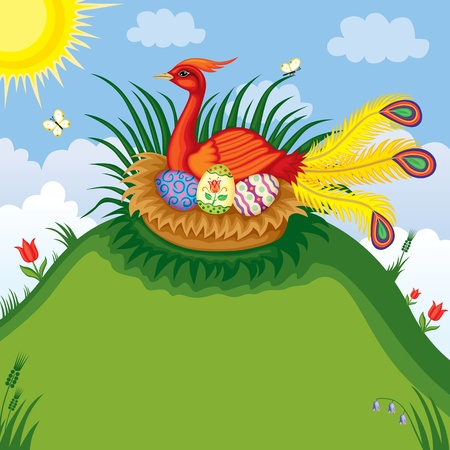 Background with the beautiful red bird with a pappus sitting on a nest with painted eggs Vector