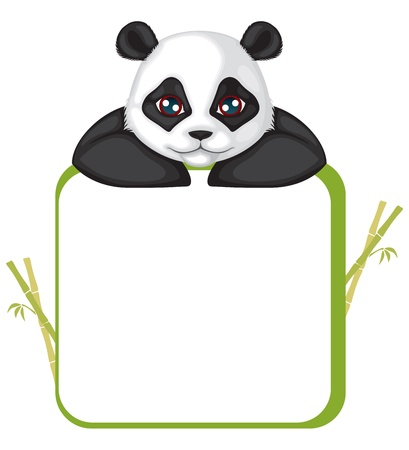 Greetings card with the muzzle of the panda and frame Vector