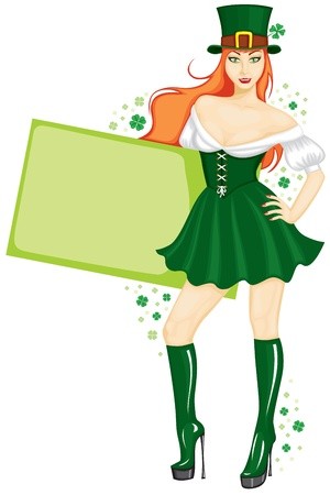 The girl in the St  Patricks Day with a sign Vector