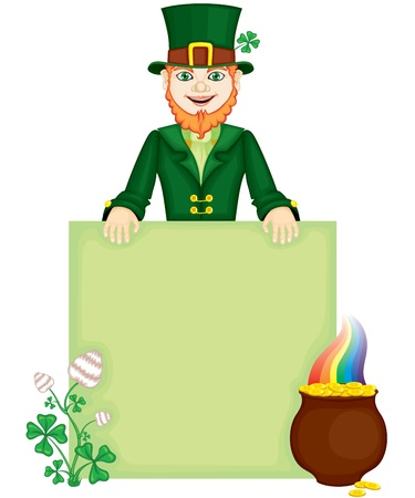 The leprechaun with congratulatory sign, clover flower and pot of gold Vector