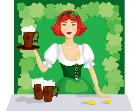 ale: The girl on the background of shamrocks holding a tray with a cup of ale
