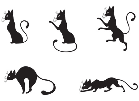 The silhouette of black graceful cats in the profile 免版税图像 - 12584458