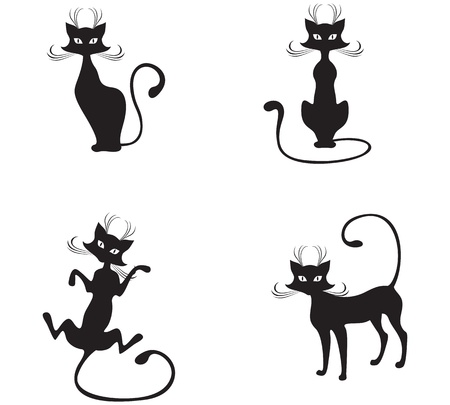 The silhouette of black graceful cats Stock Vector - 12584460