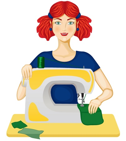 The woman sewing on the sewing machine