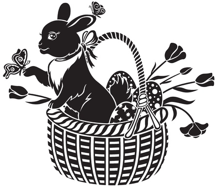 Easter hare sitting in a basket with eggs Vector