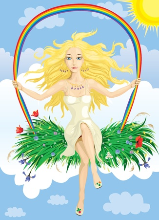 golden hair: Beautiful girl with Golden hair swinging on a rainbow swing on the background of the sky and the clouds
