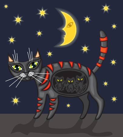 Black pregnant cat is under the starry sky Vector