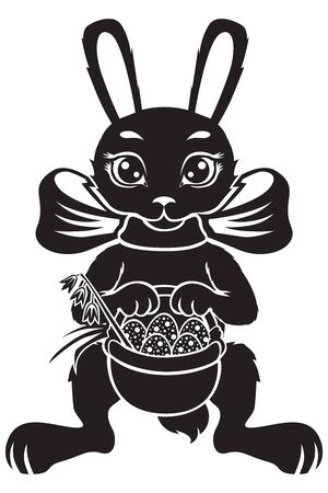Hare is basket with Easter eggs Vector