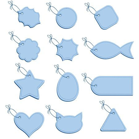 figured: Figured greeting labels blue colour on a string Illustration