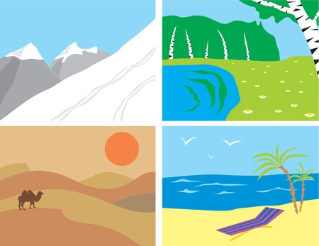 Landscapes in the primitive style  the mountains, the desert, the beach and the sea, forest and the lake Stock Vector - 13341132