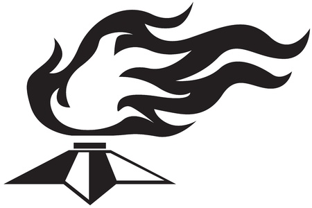 Stylized black-and-white image of the eternal fire Vector