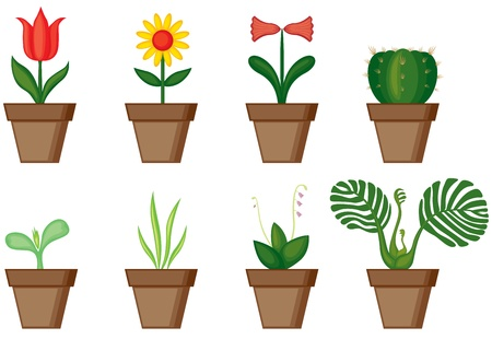 A different set of potted flowers in pots Stock Vector - 14037875