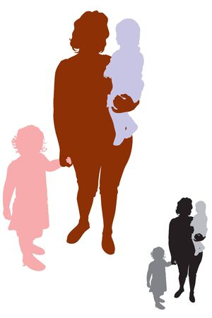 The silhouette of a woman with small children, color and black-and-white version of the Vector