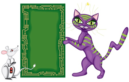 Techno cat and computer mouse hold greeting plate in the form of computer Board Stock Vector - 14151397