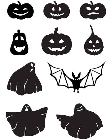 A set of images pumpkins-and-ghosts with a different face Vector
