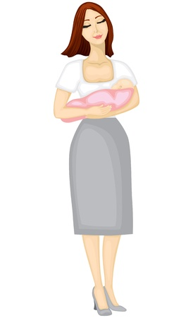 Mother holds the hands of a small child and smiles Vector