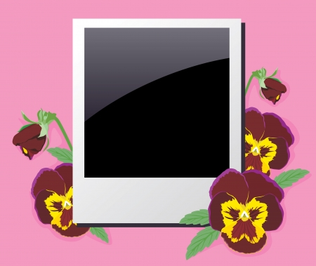 adorned: Photo frame adorned with flowers and buds of violets
