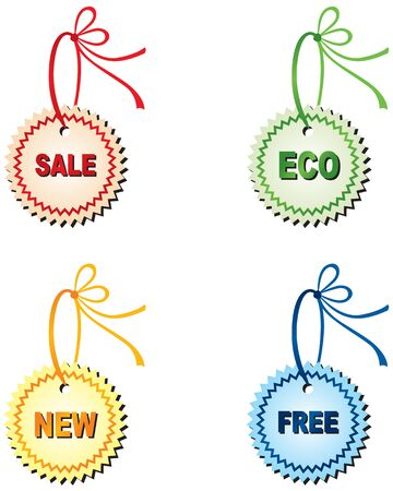 Figured labels with the words sale, new, eco, free, decorated with colored ribbons with bow Stock Vector - 14367104