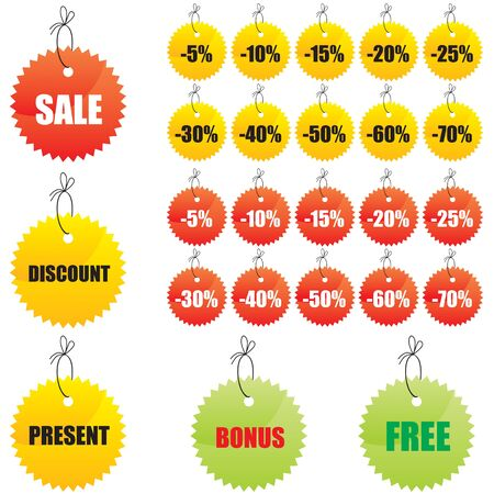 figured: Figured labels with the words sale, discount, present, bonus, free, lace decorated with a bow