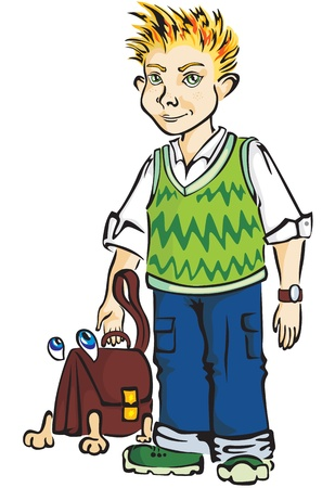 animation teenagers: Teenager in a green vest and blue jeans and a live Bag