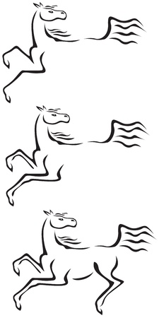 quarry: Contour image of galloping horse Illustration