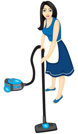 A beautiful woman is a housewife with a vacuum cleaner establish order in the home Vector
