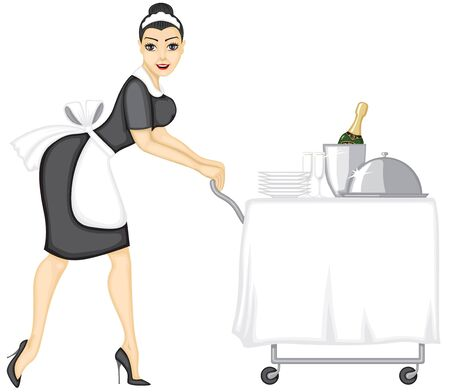Beautiful girl unlucky maid serving table with lunch Vector