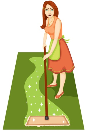 A beautiful woman is a housewife with a mop cleans out clutter in the house Vector