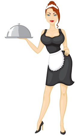 Beautiful sexy girl waitress brings the order Vector