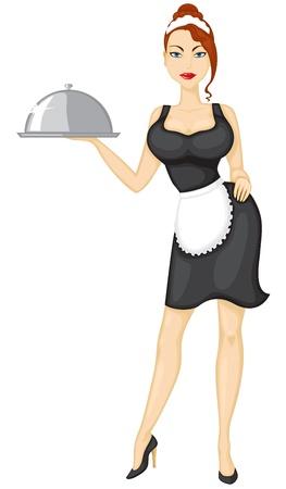 Piękne dziewczyna kelnerka przynosi porządek Ilustracje wektorowe