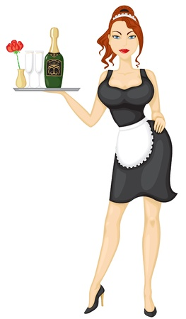 maid: Beautiful sexy girl waitress brings wine and glasses Illustration