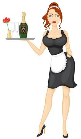 Hermosa chica sexy camarera trae vino y vasos Ilustración de vector