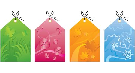 Colorful labels with seasonal spring summer, autumn and winter background