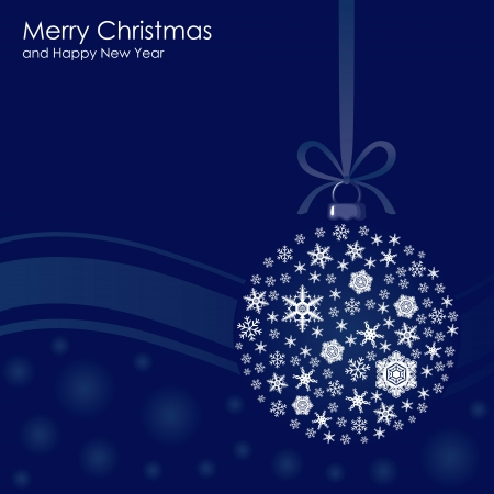 iquest: Blue Christmas background with snowflakes of the ball Illustration