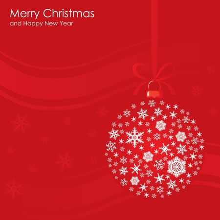 frac12: Red Christmas background with snowflakes of the ball