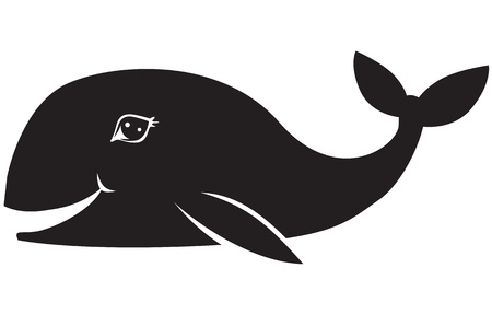 Black and white image of a smiling whale Stock Vector - 14627817