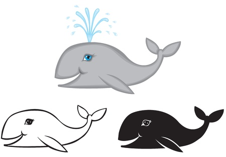 Color, contour and silhouette image of a smiling whale Stock Vector - 14627820