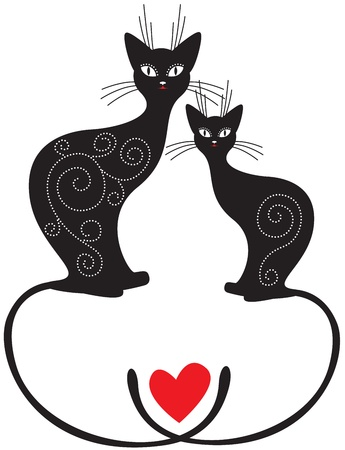 A pair Valentine of cats sitting with crossed tails