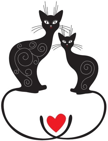 A San Valentino coppia di gatti seduti con le code incrociate Archivio Fotografico - 14627822