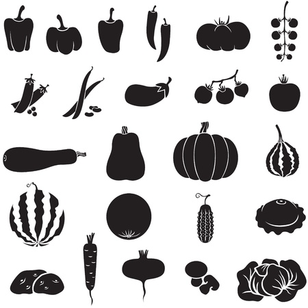 A set of images of different vegetables