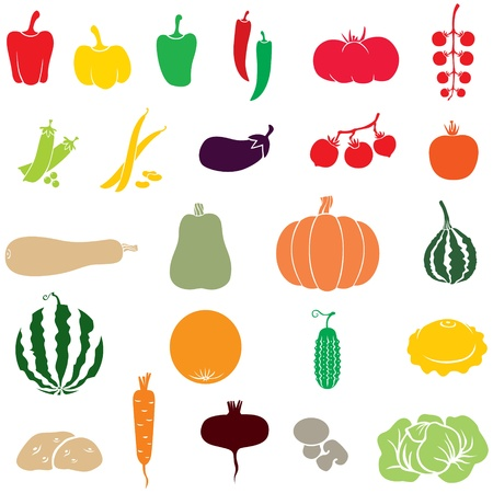 A set of images of different vegetables Vector