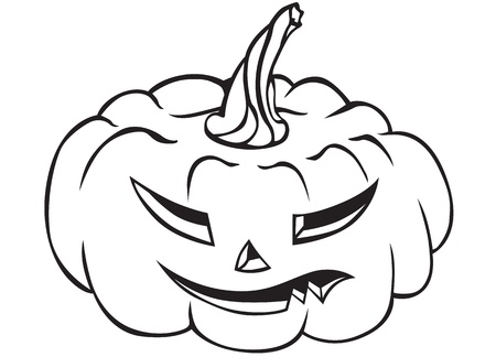 terrible: Contour image of a terrible fanged Halloween pumpkin