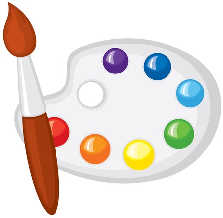 Paintbrush and palette of paints the seven colors of the rainbow