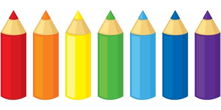 Set of colored pencils of seven colors