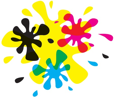 Blots of process inks overlap Vector