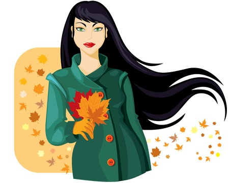 Beautiful girl with long black hair in a green coat, surrounded by autumn leaves Vector
