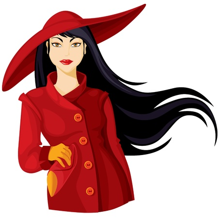 Lady in burgundy coat and wide-brimmed hat Illustration