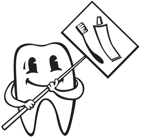 Cartoon tooth with a sign that glorifies toothpaste and toothbrush Illustration