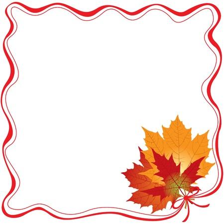 Il telaio del nastro rosso, legare un mazzo di autunno foglie d'acero Archivio Fotografico - 14958204